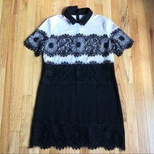 Black lace & blush pink ASOS dress